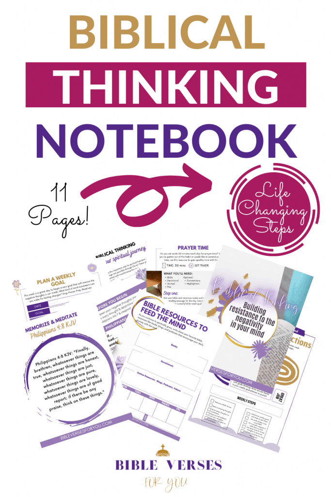 Our 11 page Biblical Thinking Notebook contains bible verses, Weekly Goal Worksheets, instructions, Bible resources to feed the mind, prayer time ideas, step by step guide and more!