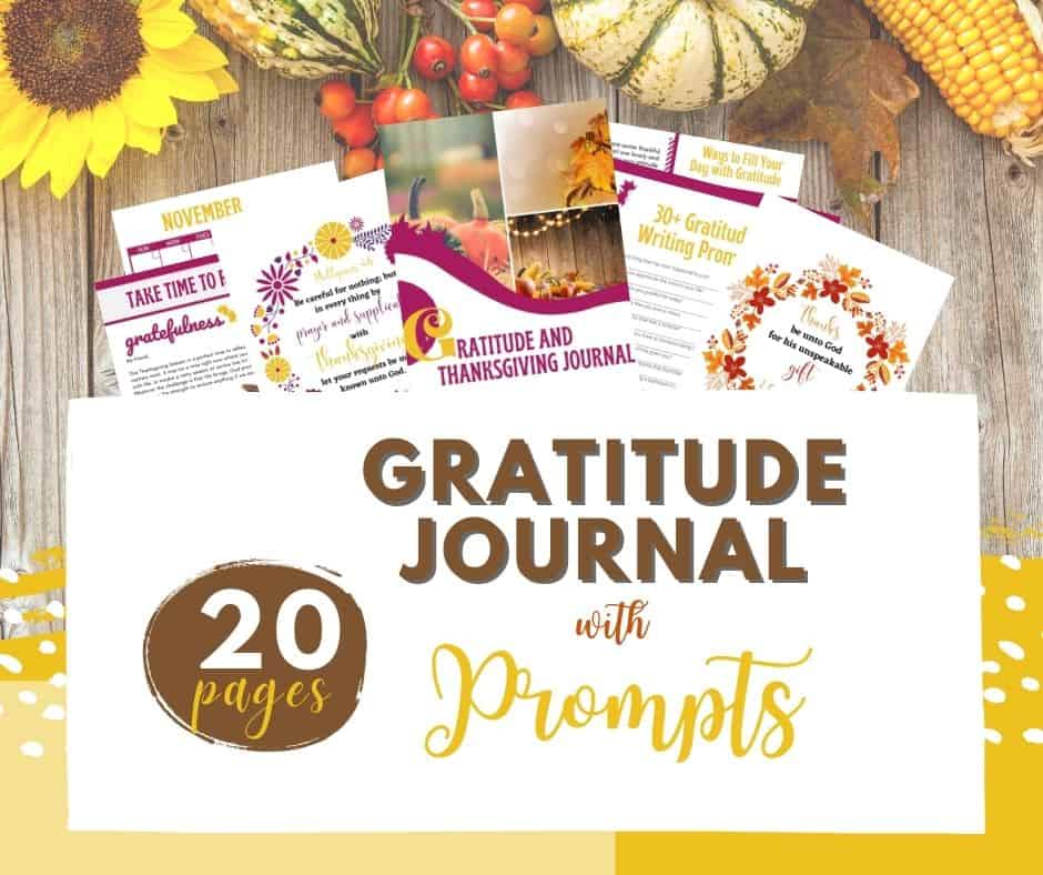 Need a better attitude of Gratitude? Try our Gratitude Journal with Prompts with 20+ pages of bible verses art work, thanksgiving planner and more!