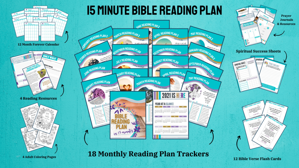 15 Minute Reading Plan that contains a ton of Christian resources including Bible Verses, calendars, journals, and more!