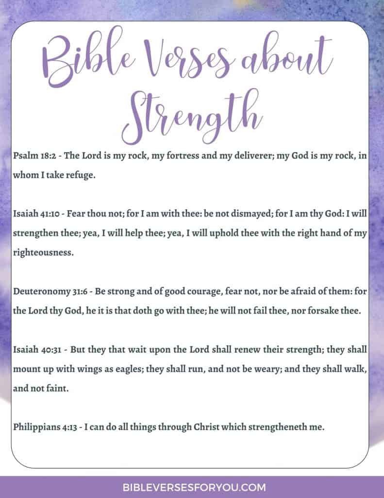 Our free printable includes 5 key Beautiful Bible Verses about strength when you feel weak, afraid, lonely, and doubting if you can get enough courage as a Christian woman.