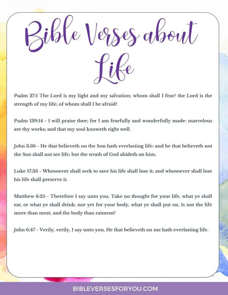 Grab these 5 Beautiful Bible Verses about Life to help you as a Christian woman struggling to make sense of life.