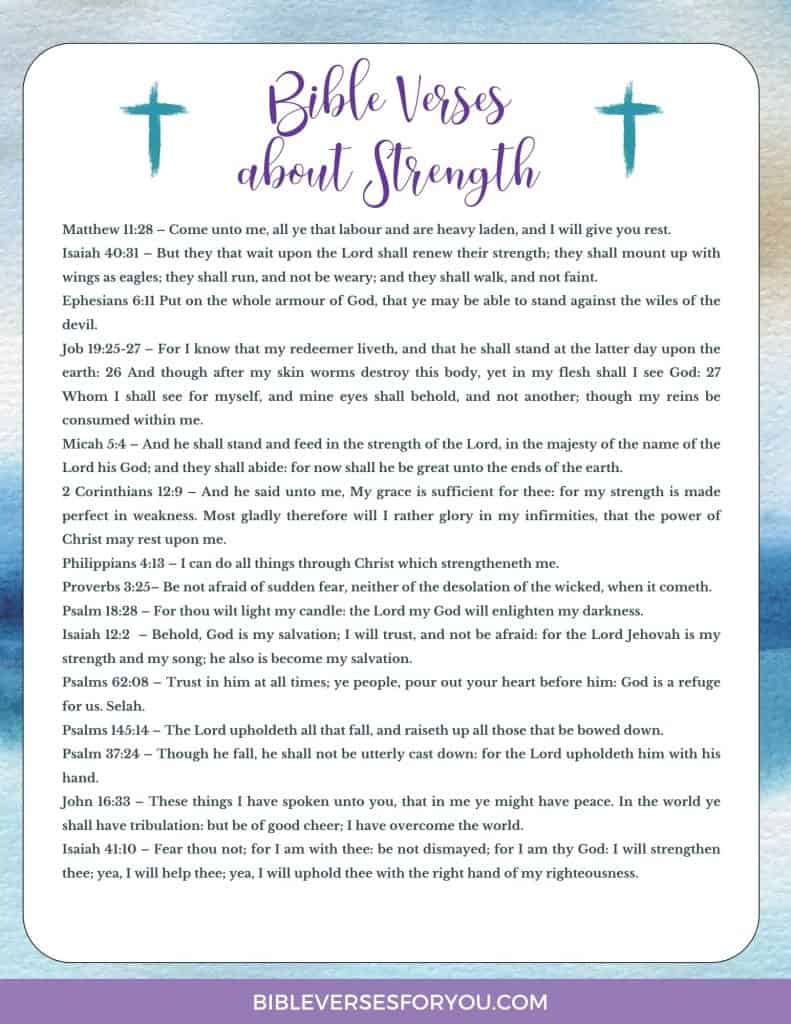 Grab this FREE 15 Bible Verses about Strength list in PDF file format.